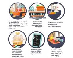 Детская кухня Home Kitchen 889-161 (светозвуковые эффекты +вода+ пар) 65 предметов