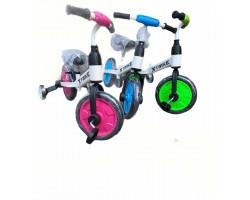 Велосипед - беговел 2в1, съёмные педали и поддерживающие колёса, 3 расцветки