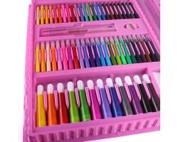 """Набор для рисования """"Юный художник"""" с мольбертом 208 предметов, Darvish Розовый"""