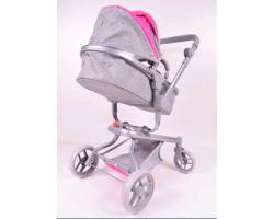 Коляска для кукол Melogo 9695 Трансформер «4в1» |Серо-розовый цвет