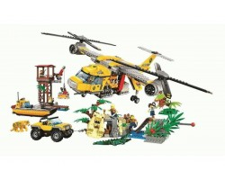 Конструктор Bela 10713 Вертолёт для доставки грузов в джунгли, аналог Лего Сити Джунгли 60162