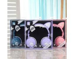 Наушники BK1 детские беспроводные с Кошачьими Ушками (цвет ЛАВАНДА)