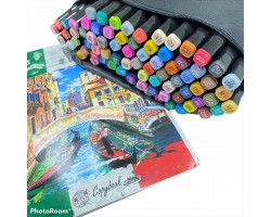 Набор двусторонних маркеров-фломастеров  для скетчинга 80 цветов в чехле