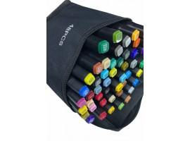 Набор двусторонних маркеров-фломастеров  для скетчинга 48 цветов в чехле