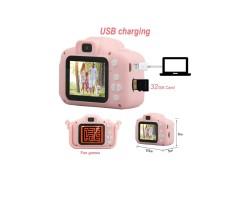 Детский фотоаппарат Микки Маус розовый селфи + встроенная память