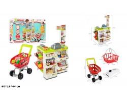 Игровой набор Детский супермаркет (магазин) с тележкой, аксессуарами, сканером на батарейках со светом и звуком, 82 см, арт. 668-03
