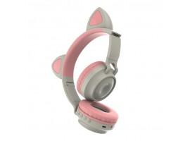 Наушники детские беспроводные с кошачьими ушками  ZW-028  цвет серый/нежно-розовый