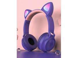 Наушники детские беспроводные с кошачьими ушками  ZW-028  цвет фиолетовый