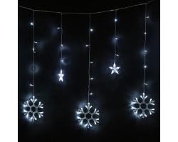 Новогодняя светодиодная гирлянда штора Снежинки