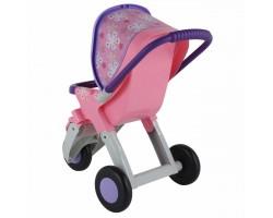 Коляска для кукол №2 Полесье 48141 прогулочная 3-х колёсная розовая