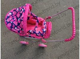 Коляска детская игровая для кукол Melogo 9391|Розовая  с сердечками